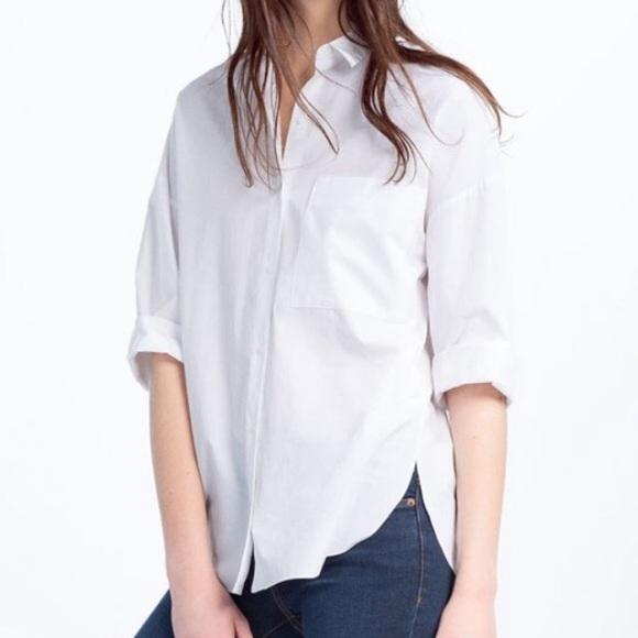 49e0620a3 Zara white oversized shirt. M 5a67d5c805f43076c6fa7c2f